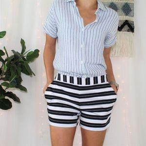Daniel Cremieux Black and White Striped Shorts